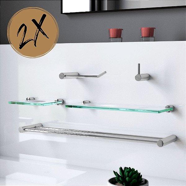 Kit para Banheiro Prateleira (2 Kits) 10 Peças Plus 504LP2