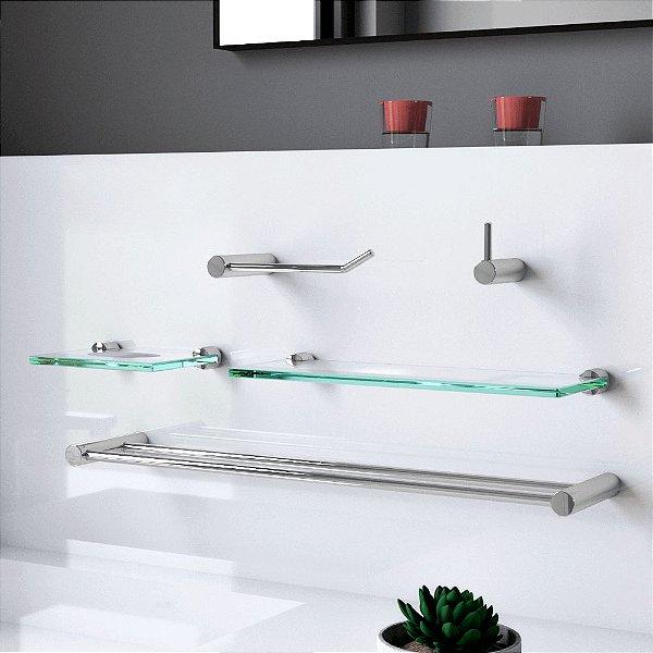 Kit para Banheiro Duplo com Prateleira Plus 505LP Grego