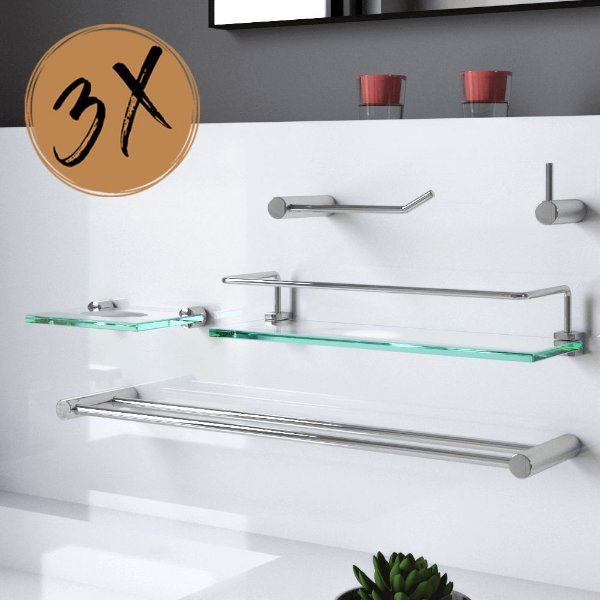 Kit Banheiro 15 Peças Prateleira Proteção 3 Kits Plus 506LP3