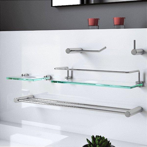 Kit de Banheiro Prateleira Proteção 5 Peças Luxo Plus 506LP