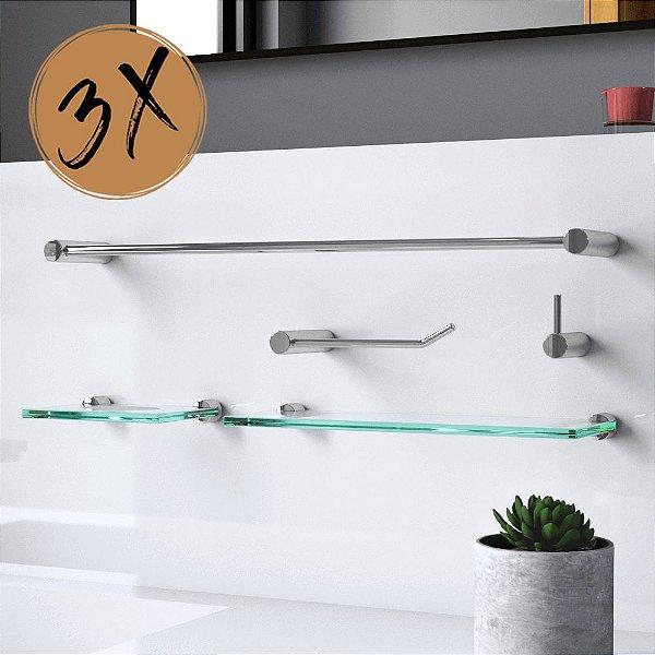 Kit Acessórios de Banheiro (3 Kits) 15 Peças Slim 501LS3