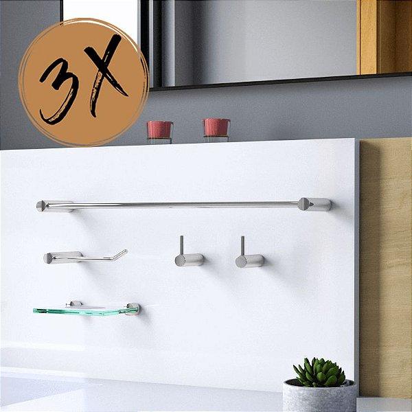 Kit Acessórios Para Banheiro (3 Kits) 15 Peças Slim 525LS3