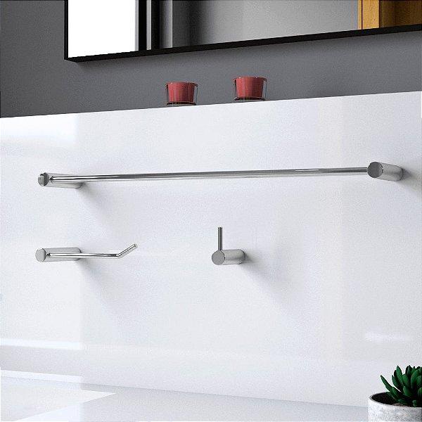 Kit de Banheiro Acessórios Metal Luxo Slim 526LS Grego