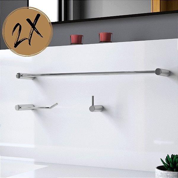 Kit Acessórios Para Banheiro (2 Kits) 6 Peças Slim 526LS2