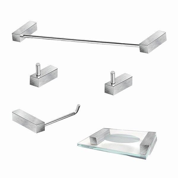 Kit Para Banheiro em Aço Inox Escovado 5 Peças 331VIP Grego