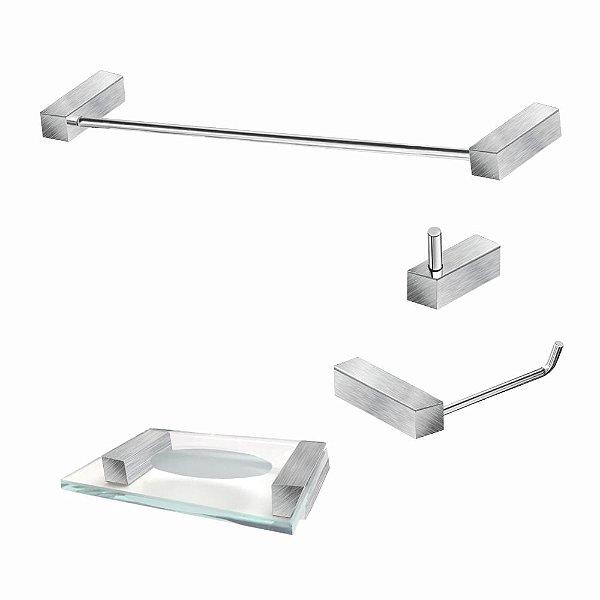 Kit Para Banheiro em Aço Inox Escovado 4 Peças 328VIP Grego