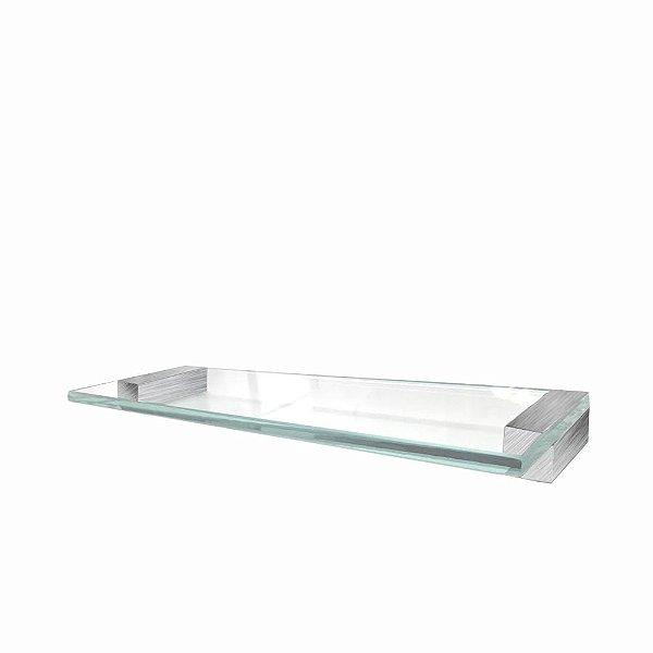 Prateleira Vidro em Aço Inox Escovado Alto Padrão 350VIP
