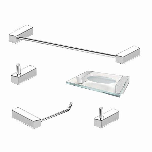 Kit de Banheiro em Aço Inox 5 Peças Alto Padrão 330VIP