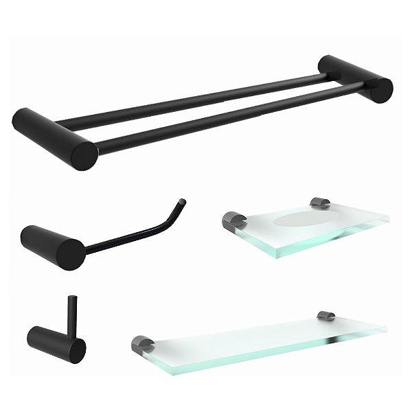 Kit De 5 Acessórios Para Banheiro Preto Toalheiro Duplo Luxo