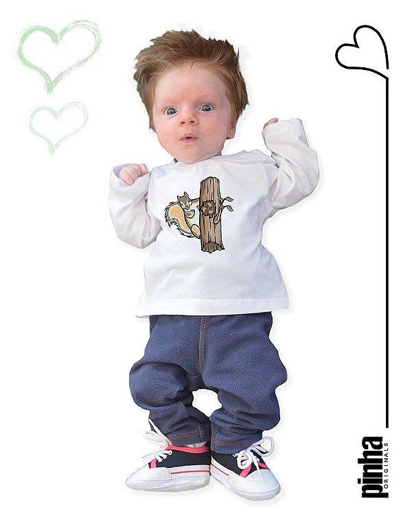 Camiseta Vegana Sustentável Esquilo - Linha baby