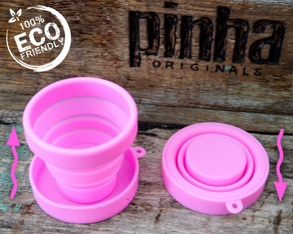 Copinho Rosa de Silicone Retrátil 100ml