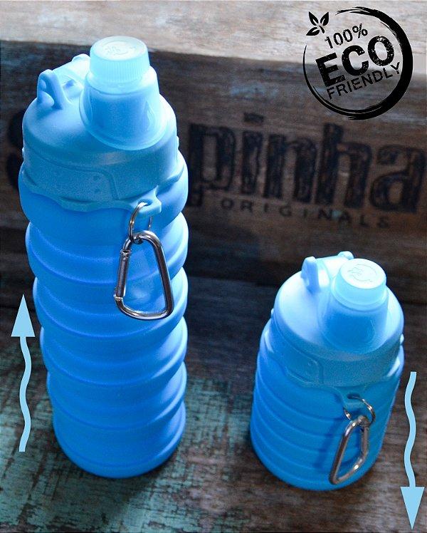 Garrafa de Silicone retrátil Azul claro 500 ml