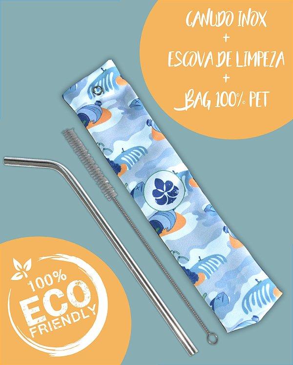 Kit Canudo inox com escova e Bag - 2050 Beach