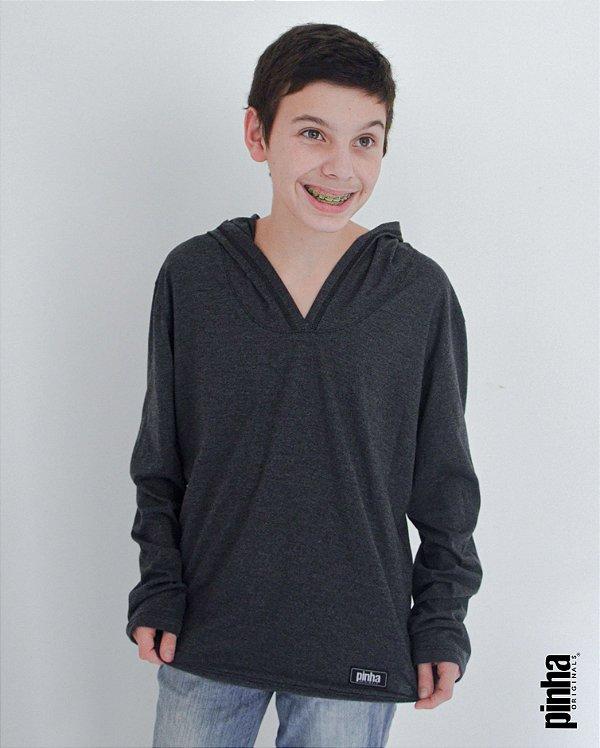 Camiseta manga longa com Capuz-  Cinza Tundora- Sustentável - Pinha Originals