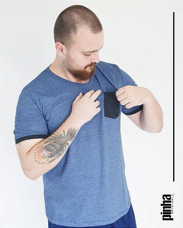 Camiseta Azul com bolso- Sustentável - Pinha Originals