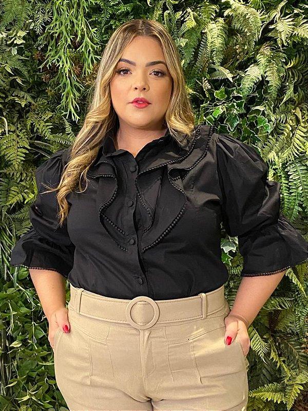 Camisa em Tricoline Plus Size Black