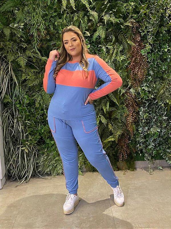 Conjunto Moletinho Plus Size Ester Azul
