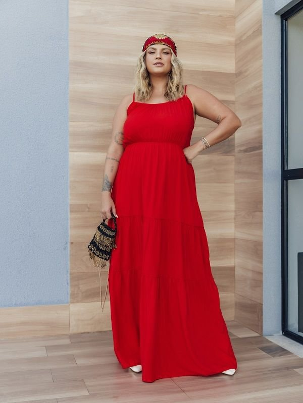 Vestido Plus Size Pietra Vermelho