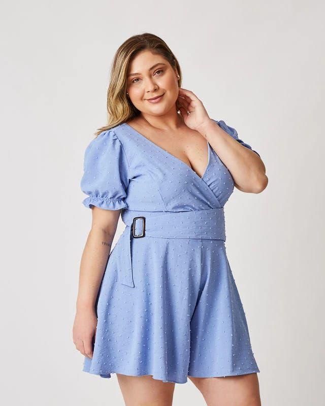 Macaquinho Plus Size Bela Azul