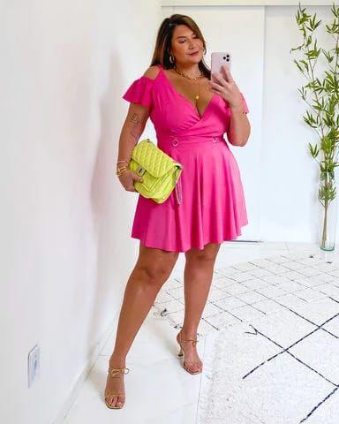 Macaquinho Plus Size Lara Pink