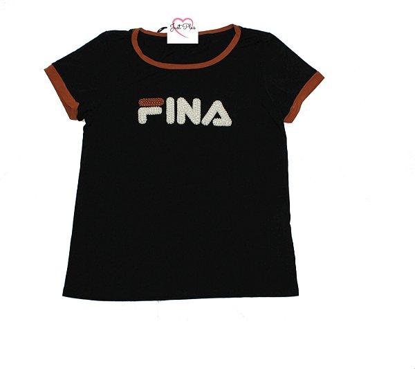 T-Shirt Plus Size Fina Preta