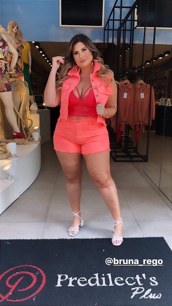 Shorts Jeans Plus Size Neon Laranja