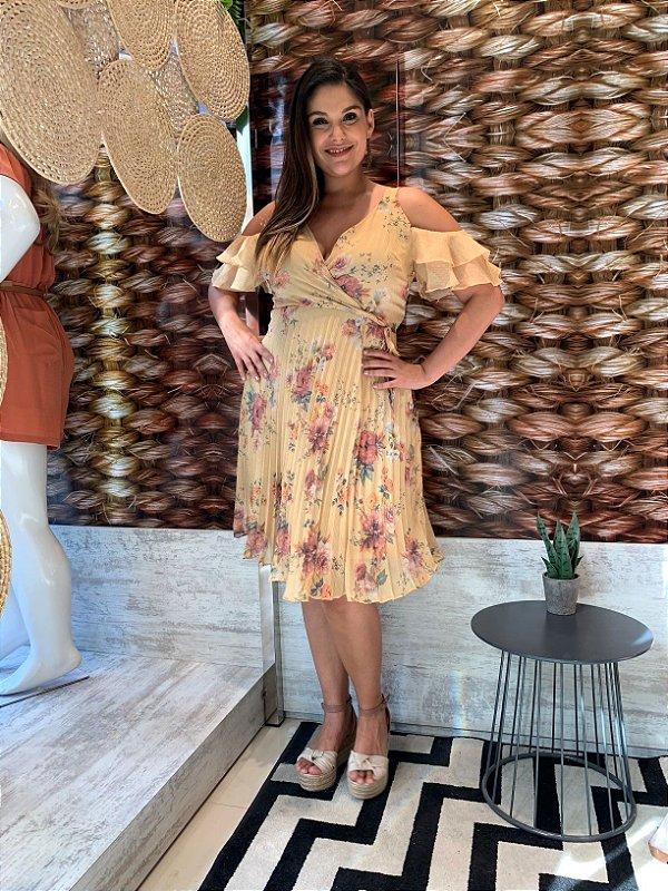 Vestido Plissado Beatrice Mostarda 46
