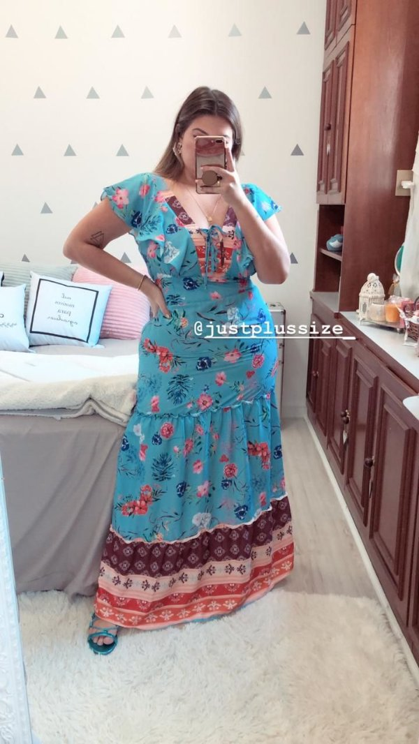 Vestido Longo Floral Plus Size Azul 48