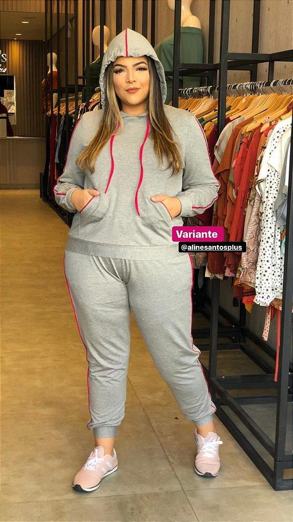Conjunto Capuz PLus Size Bianca Cinza