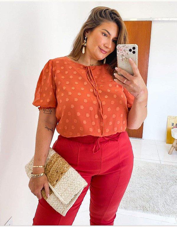 Blusa Chiffon Plus Size Melina Preta