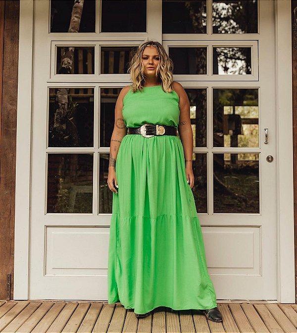 Vestido Longo Plus Size Dandara Verde