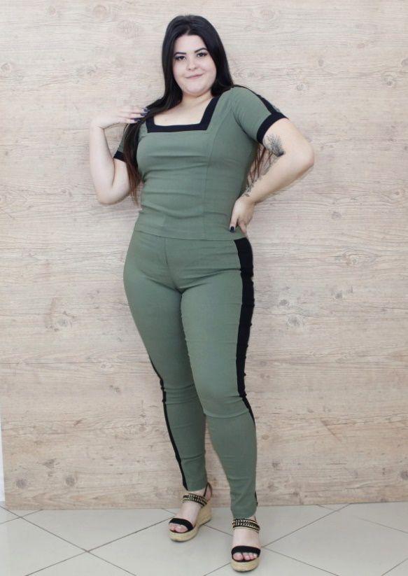 Conjunto Plus Size Mercy Verde e Preta