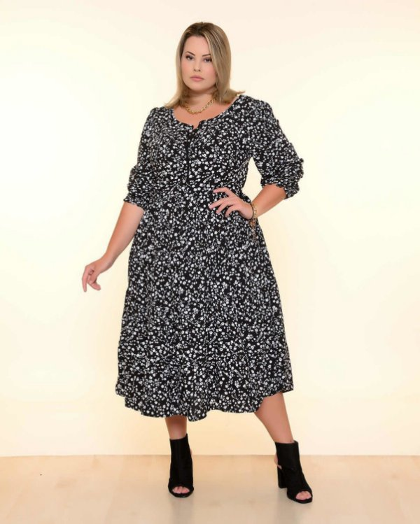 Vestido Plus Size Liberty Black