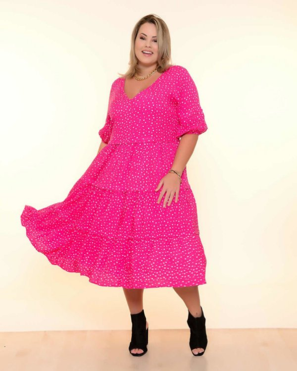 Vestido Plus Size Poá Pink