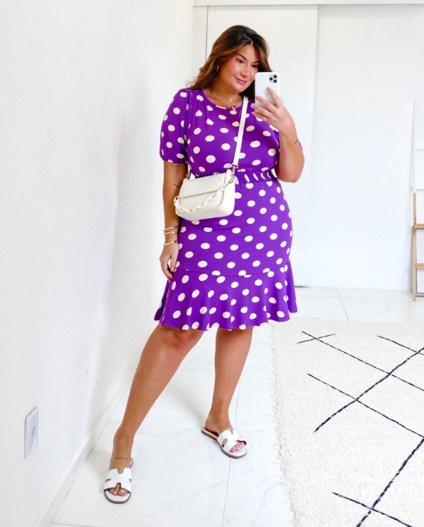 Vestido Plus Size Poá Violeta
