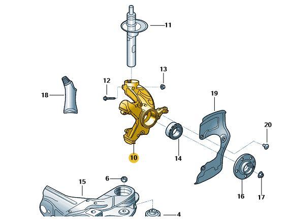 Caixa De Rolamento da Roda Esquerda - Novo Novo Polo Virtus e T-Cfross