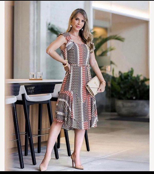 Vestido Estampado Decote Quadrado Elizabeth Lima