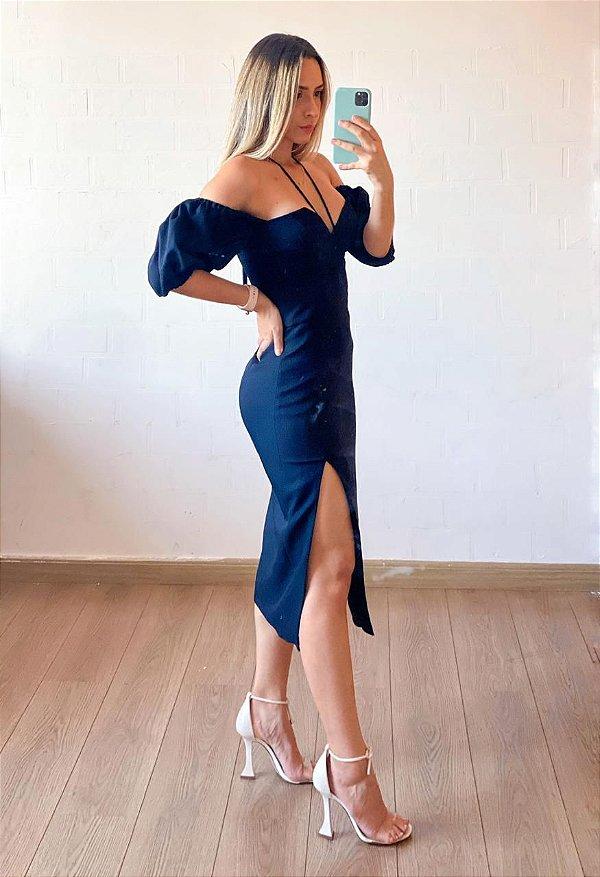 Vestido Manga Ciganinha Com Fenda Iorane Preto