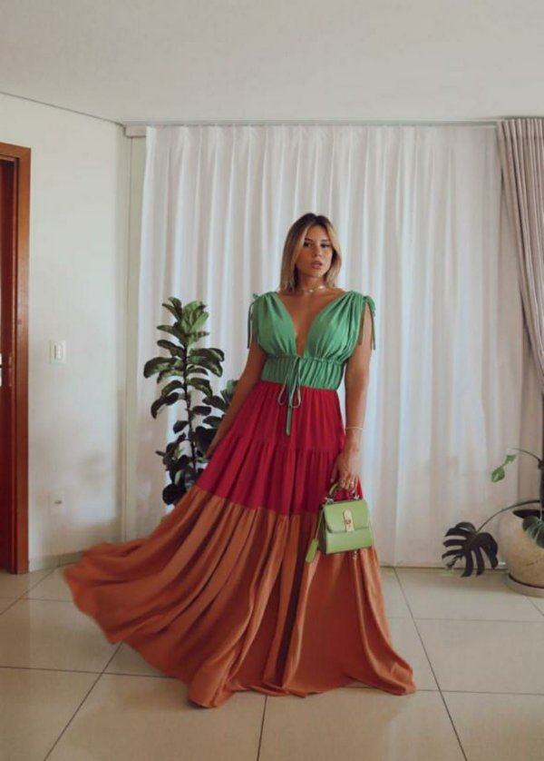 Vestido Longo Tricolor Skazi