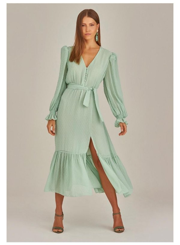Vestido Midi Georget Verde Claro Deep