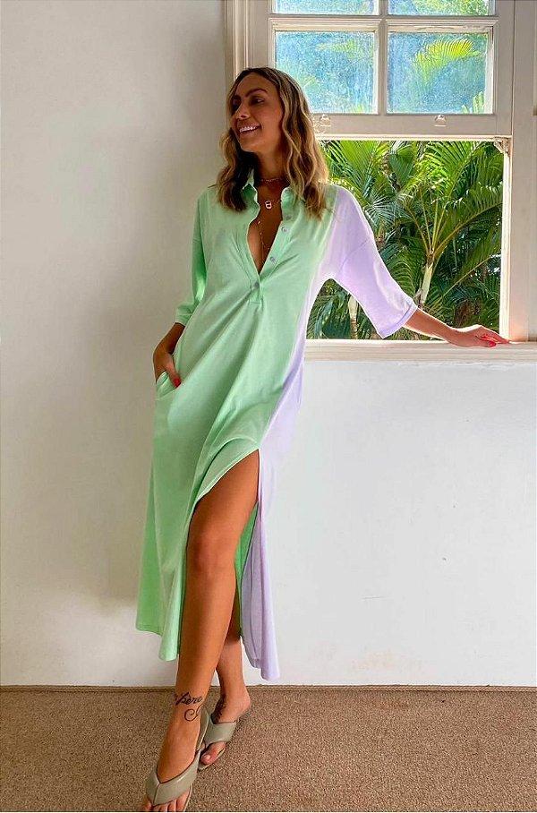 Vestido  Camisão Salgunamu Verde e Lilas