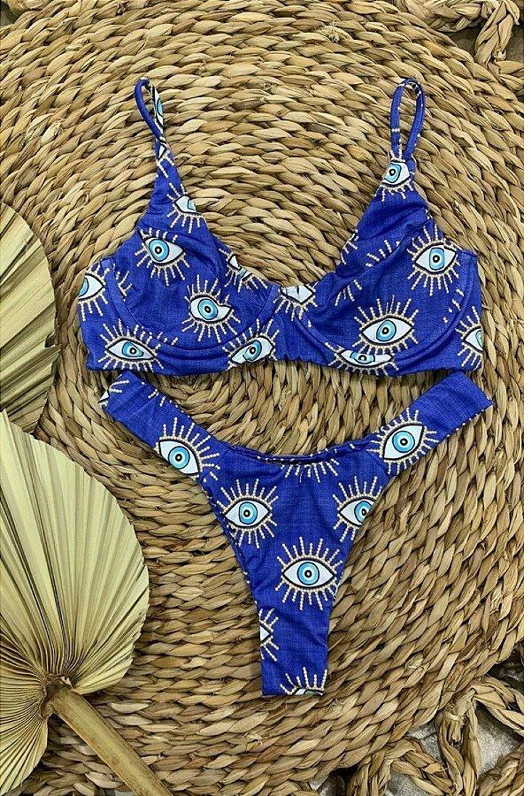 Biquini Catarina Meia Taça Olho Grego- Azul Royal