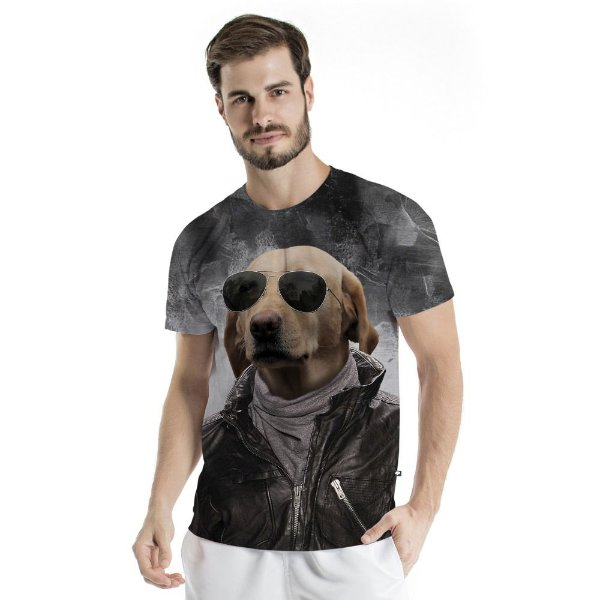 Camiseta Básica Adulto Dog Óculos