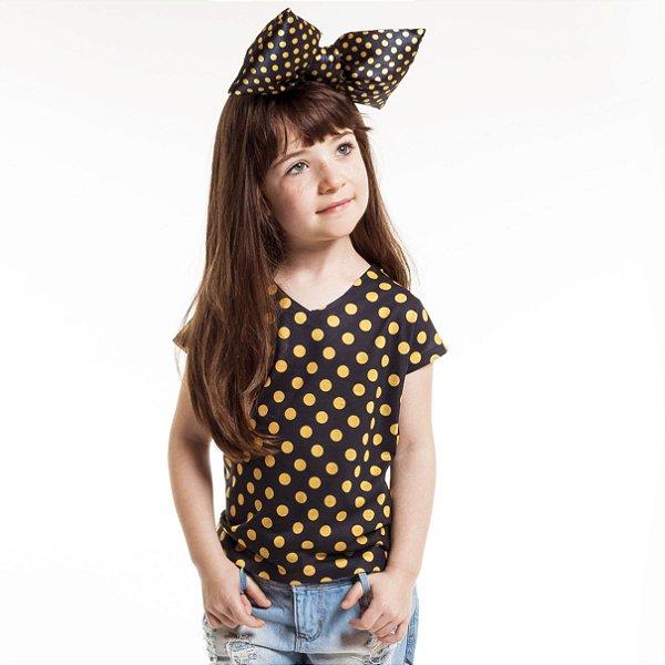 Blusa Florata Infantil Poá Amarelo