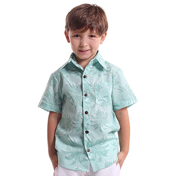Camisa de Botão Infantil Coqueiros