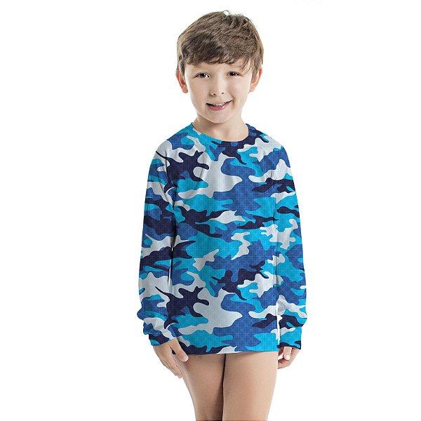 Blusa UV Infantil Unissex Militar Azul