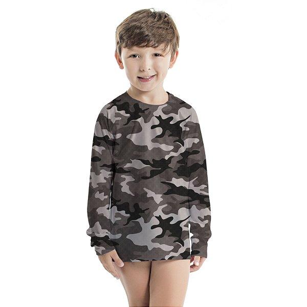 Blusa UV Infantil Unissex Militar Preto