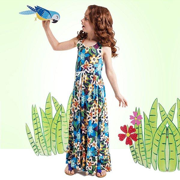 Vestido Longo Nina Infantil Flores
