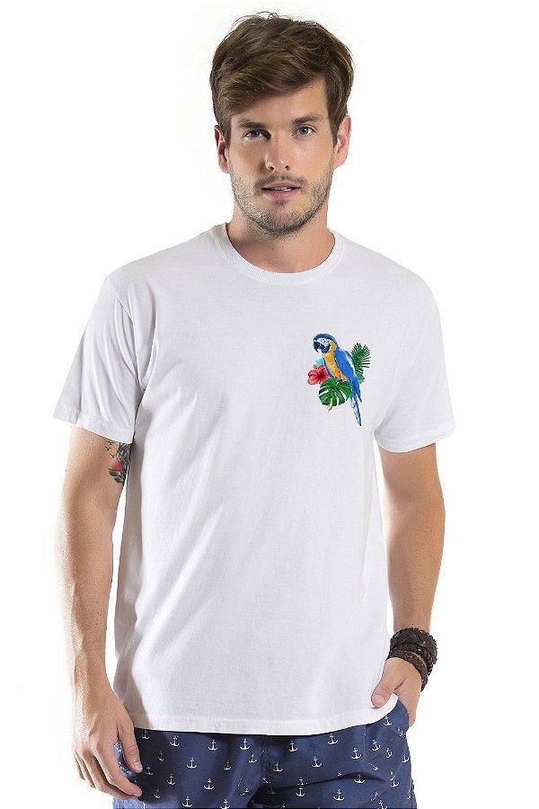 Camiseta de Algodão Estonada Branca Arara Canindé