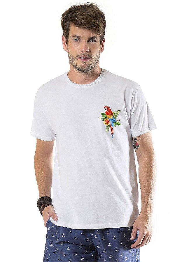 Camiseta de Algodão Estonada Branca Arara Vermelha